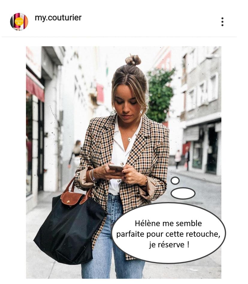 jeune femme cherche une retouche de vetement sur l'appli mobile